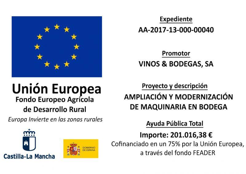 VINOS Y BODEGAS AMPLÍA Y MODERNIZA SU MAQUINARIA APOYADO POR EL FONDO FEADER
